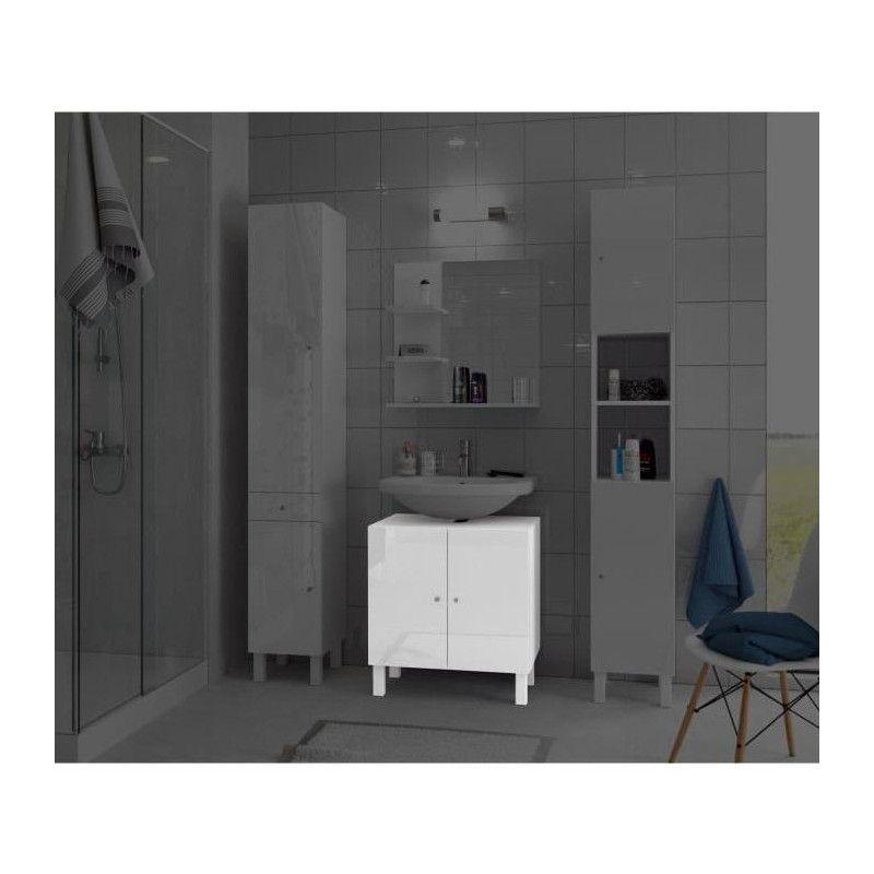 Corail meuble sous lavabo l 60 cm blanc laqu - Meuble sous lavabo 60 cm ...
