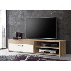 FINLANDEK Meuble TV KATSO contemporain décor chene sonoma et blanc brillant - L 120 cm