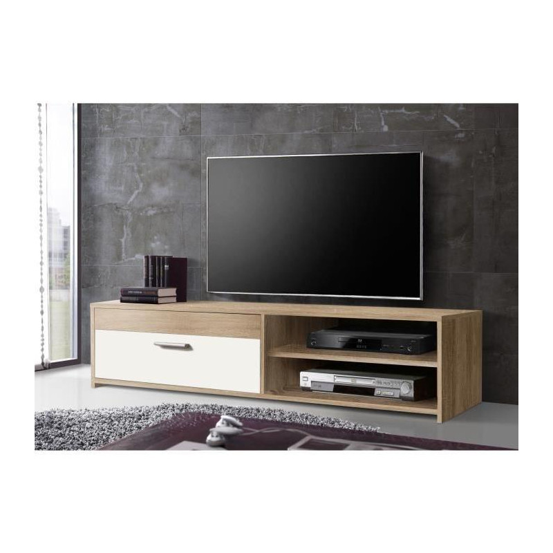 finlandek meuble tv katso d cor chene sonoma et blanc. Black Bedroom Furniture Sets. Home Design Ideas