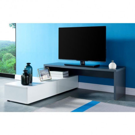 floyd meuble tv extensible contemporain gris et blanc. Black Bedroom Furniture Sets. Home Design Ideas