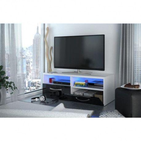 Kosmo 2 Meuble Tv Avec Led Contemporain Blanc Et Noir