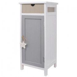 STAR Meuble de rangement de salle de bain en bois Paulownia L 28 cm - Blanc - Beige et gris