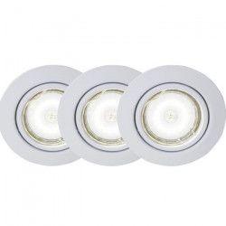 BRILLIANT Kit de 3 spots encastrable orientables LED Honor diametre 9 cm GU10 5W blanc