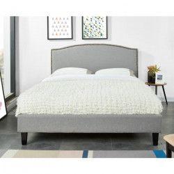 NANTES Lit adulte classique - Tissu gris clair - Sommier inclus - l 160 x L 120 cm