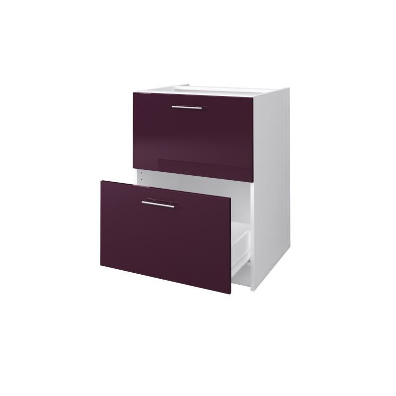city meuble bas casserolier 60 cm laqu aubergine brillant. Black Bedroom Furniture Sets. Home Design Ideas