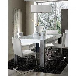 CALIMERO Table a manger extensible de 6 a 8 personnes style contemporain décor chene et blanc - L 160-207 x l 90