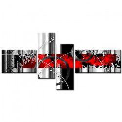 FEU Tableau Multi Panneaux abstrait 140x70 cm - Rouge