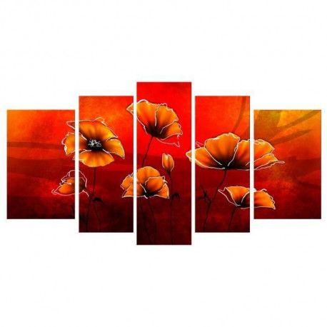 Coquelicots tableau multi panneaux 110x60 cm - Tableau multi panneaux ...