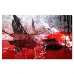 ESTAMPE Tableau déco 80x50 cm rouge abstrait