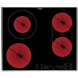 WHIRLPOOL AKT 8000 IX - Table de cuisson vitrocéramique - 4 zones - 6,2 kW - L58 x P51cm - Revetement verre - Noir