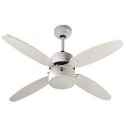 FARELEK - SAMOA Ø 107 cm - Ventilateur de plafond réversible, 4 pales couleur Blanche + éclairage 1 globe 60W
