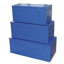 COGEX 3 malles cadenassables vides en métal bleu