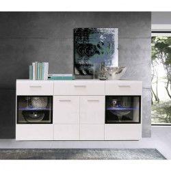 SLATE Buffet bas contemporain blanc brillant - L 170 cm