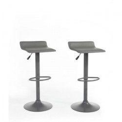 MATEO Lot de 2 tabourets de bar en métal - Revetement simili gris - Contemporain - L38,5x P39 cm
