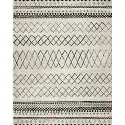 ASMA Tapis de salon style Berbere en polypropylene - 160x230 cm - Beige et Marron / Noir