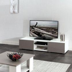 LIME Meuble TV contemporain blanc et taupe - L 140 cm