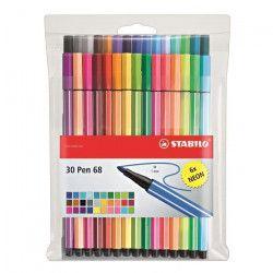STABILO Pochette de 30 feutres de coloriage Pen 68 - Coloris assortis dont 6 fluo