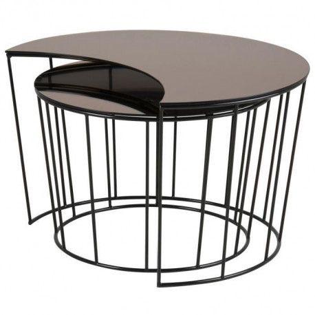 Sunmoon Lot De 2 Tables Basses Gigognes Contemporain En Metal Laque Noir Plateau En Verre Bronze L 76 X L 59