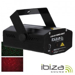 IBIZA LIGHT LAS-S130RG-BAT Mini effet laser firefly rouge / vert 100+30mw rechargeable