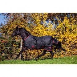 COVALLIERO Couverture cheval outdoor RugBeZero.1 - 135 cm - Noir et rouge