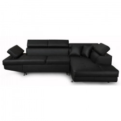 FUTURA Canapé d`angle droit convertible 4 places - Simili noir - Contemporain - L 272 x P 192 cm