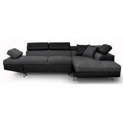 FUTURA Canapé d`angle droit convertible 4 places - Tissu gris foncé et simili noir - Contemporain - L 272 x P 192
