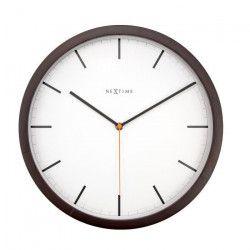 NEXTIME Horloge murale Company Wood- Bois - Foncé - Ø 35 cm