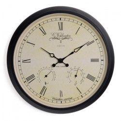 NEXTIME Horloge murale et Station météo Wehlington - Métal - Marron - Ø 25cm