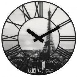 NEXTIME Horloge murale - La Ville In Paris- Plastique Noir / Blanc Ø 39cm