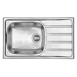 EWI Evier cuisine a encastrer 1 grand bac + 1 égouttoir Quartz - Inox - 86 x 50 cm