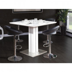 SANDRO Table bar carrée 4 personnes 100x100 cm - Laqué blanc brillant