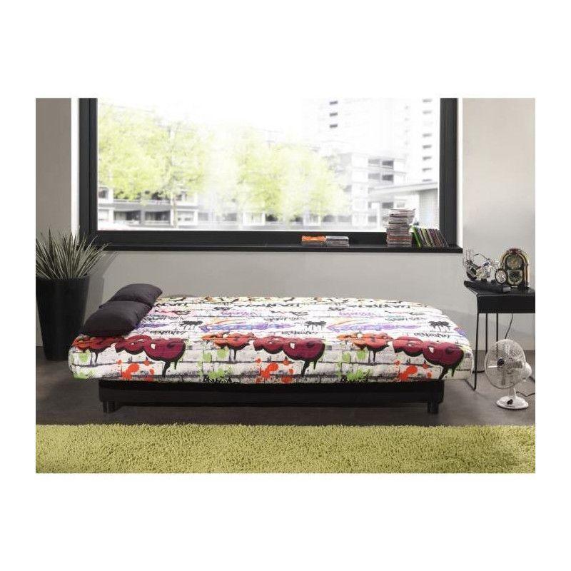 staro banquette clic clac 3 places tissu graffiti. Black Bedroom Furniture Sets. Home Design Ideas