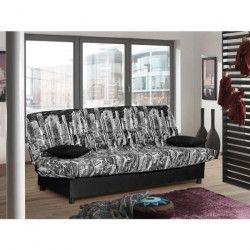 STARO Banquette clic-clac 3 places - Tissu noir Manhattan - Style contemporain - L185 x P 88 cm