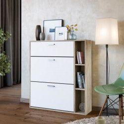CARMEN Meuble a chaussures contemporain mélaminé décor chene clair et blanc mat - L 25 cm