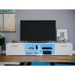 TENUS Meuble TV LED contemporain mélaminé blanc brillant et mat + étagere en verre - L 200 cm