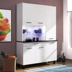 ECO Buffet de cuisine contemporain L 120 cm - Blanc brillant