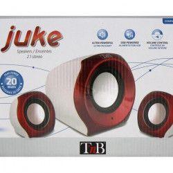 T`nB Haut-parleurs Multimédia 2.1 `JUKE` rouges et blancs