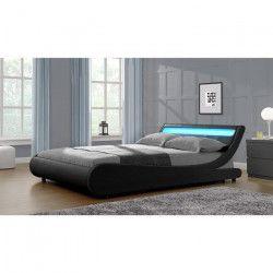 MERCURE Lit adulte contemporain - Simili noir - Sommier et tete de lit avec LED inclus - l 140 x L 190 cm
