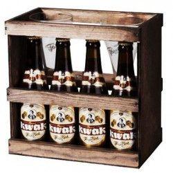 BRASSERIE BOSTEELS Coffret bois Kwak 4 Bieres Ambrées - 33 cl + 2 verres