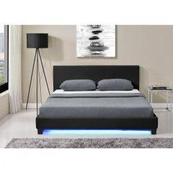 MONACO Lit adulte classique avec LED - Simili noir - Sommier et tete de lit inclus - l 160 x L 200 cm