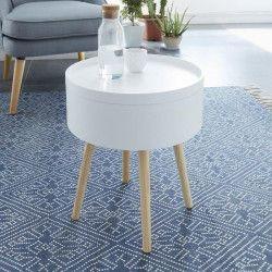 CANDY Table d`appoint/Bout de canapé ronde scandinave laqué blanc mat - L 38 x l 38 cm