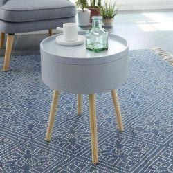 CANDY Table d`appoint/Bout de canapé ronde scandinave laqué gris mat - L 38 x l 38 cm