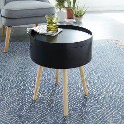 CANDY Table d`appoint ronde scandinave noir laqué - L 38 x l 38 cm