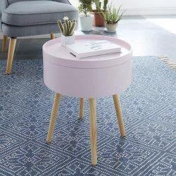 CANDY Table d`appoint/Bout de canapé ronde scandinave laqué rose mat - L 38 x l 38 cm