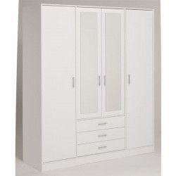 ESSENTIELLE Armoire blanche 4 portes / 4 étageres