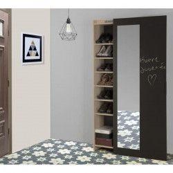 ADAM Meuble a chaussures industriel décor châtaignier naturel et mélamine gris anthracite - porte coulissante -