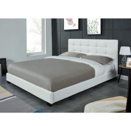 amsterdam lit adulte contemporain simili blanc. Black Bedroom Furniture Sets. Home Design Ideas