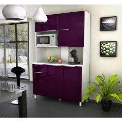 LOVA Buffet de cuisine contemporain aubergine brillant - L 120 cm