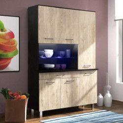 ECO Buffet de cuisine contemporain noir brillant et décor chene - L 120 cm