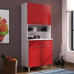 ECO Buffet de cuisine contemporain L 80 cm - Blanc mat et rouge brillant
